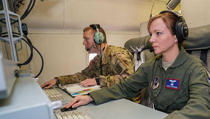 E-8C Joint STARS Aircrew on Mission